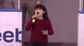 nationalhymne, publikum, mädchen