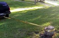 Auto Baumstumpf herausziehen