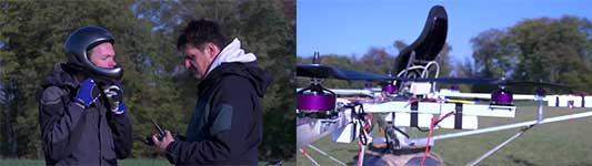 first manned flight with an electric multicopter