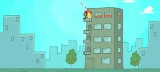 Hochhaus Feuer Superman