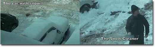 auto, schnee, kratzen
