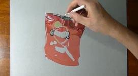 Fotorealistisch ein Chipstüte zeichnen