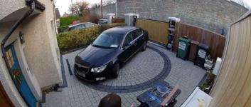 Auffahrtsdrehscheibe Auto Parkplatz