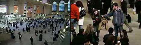 bahnhof, flashmob, aktion, einfrieren
