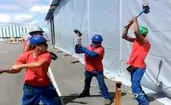 Hammer Pflock Baustelle Bauarbeiter