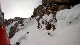 Scary POV footage of an ice climbing fall