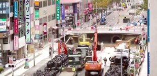 Japan Straßenloch Baustelle