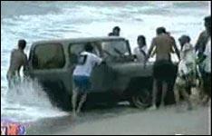 jeep, strand, urlaub, meer, wellen, surfen