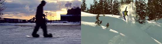 snowboard, winter, sprünge, schnee