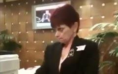 hotel, empfang, Frau