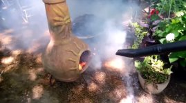 Laubbläser Gartenkamin Feuer