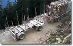 LKW wenden, Truck turn, Holz, schmale Straße