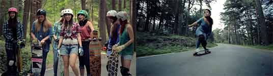 longboard, girls, mountain