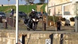 motorrad, hafen, unfall