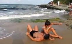 Muskeln, Training, Strand, Frau, Bodybuilding