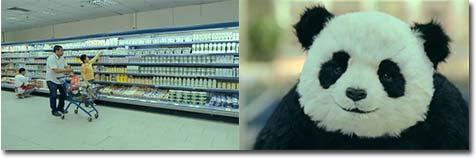 panda, supermarkt, werbung, werbespot