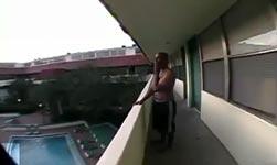 balkon, pool, sprung