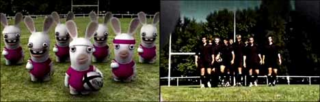 rabbids, rugby, spielen, animation