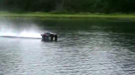 slash 4x4 365 RC driving on water hydroplane