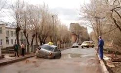 Russland, Taxi, Schlagloch, Flut