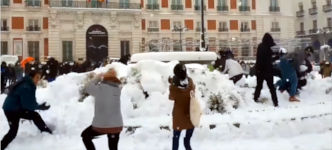 Schnee in Madrid Spanien