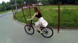 Fahrrad Frau Rock sexy String