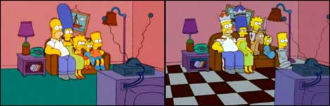 simpsons couch intro, bart, homer, marge, lisa, maggie
