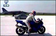 speed-duell, jet, motorrad, auto