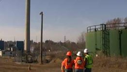 Schornstein, Sprengung, Strom, Stromleitung