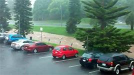 toowoomba, flut, parkplatz, autos