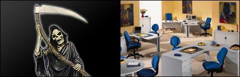 tot, tod, schreibtisch, büro, großraumbüro