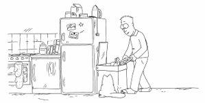 Simon's Katze und der Mülleimer