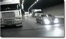tunnel, truck, car, crash