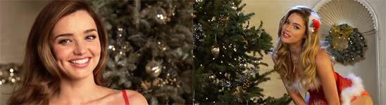 Engel von Victorias Secret wünschen frohe Weihnachten