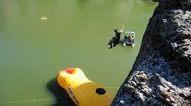 Rekordabschuss mit Wassersprungkissen Blob