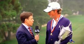 Webb Simpson US Open Interview Fan Photobomb